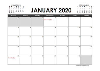 Printable 2020 Calendar Templates With Australia Holidays
