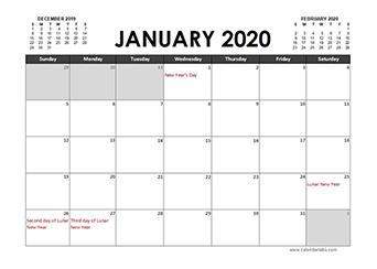 2020 Calendar Planner Hong Kong holidays