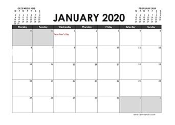 2020 Calendar Planner Ireland holidays