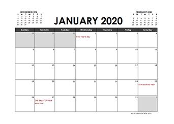 2020 Calendar Planner Malaysia holidays