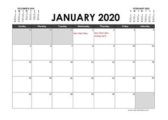 2020 Calendar Planner South Africa holidays
