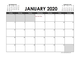 2020 Excel Calendar Planner UAE