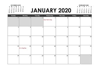 Monthly 2020 Excel Calendar Planner