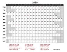 2020 Excel Calendar Project Timeline