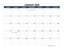 Printable 2020 Excel Calendar Templates Calendarlabs