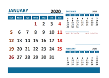 2020 Excel Calendar with Australia Holidays