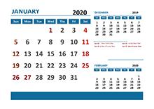 2020 Excel Calendar with Hong Kong Holidays