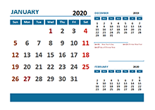 2020 Monthly Calendar with Malaysia Holidays