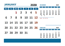 2020 Monthly Calendar with Netherlands Holidays
