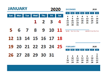 2020 Monthly Calendar with Philippines Holidays