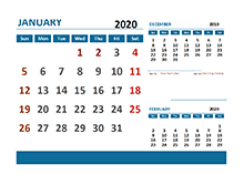 2020 Monthly Calendar with singapore Holidays