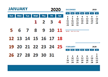 2020 Monthly Calendar with Thailand Holidays