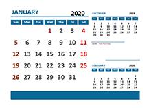 2020 Excel Calendar with UAE Holidays