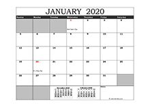 2020 Excel Calendar in Cell