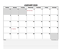 2020 excel monthly calendar with notes