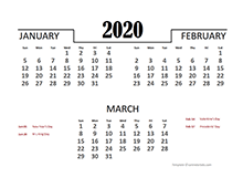 2020 Quarterly Calendar Template