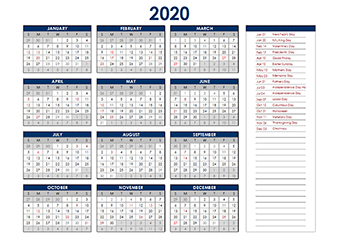 2020 Yearly Excel Calendar