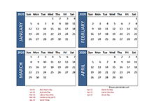 2020 four-month Australia calendar template
