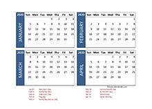 2020 calendar 4 month