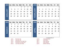 2020 four-month Hong Kong calendar template