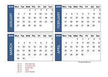 2020 four-month Ireland calendar template