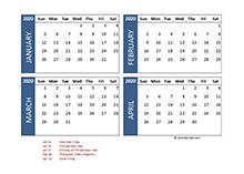 2020 four-month Malaysia calendar template