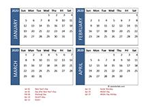 2020 four-month New Zealand calendar template