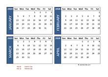 2020 Four Month Calendar Pakistan Template