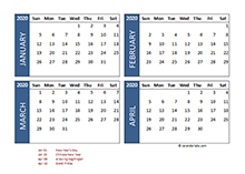 2020 four-month Philippines calendar template