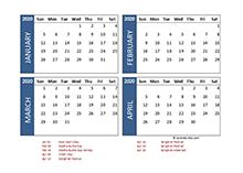 2020 four-month Thailand calendar template