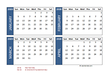 2020 four-month UAE calendar template