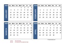 2020 Four Month Calendar UAE Template