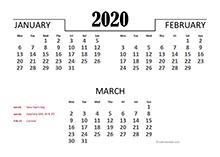2020 Quarterly Calendar for Germany
