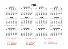 2020 Germany calendar template with public holidays