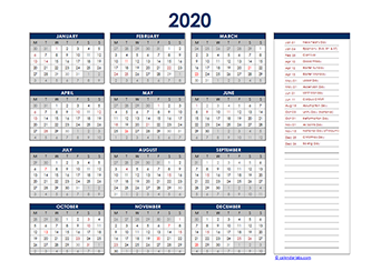 Yearly 2020 Calendar with Germany public holidays