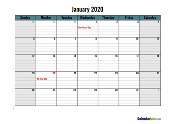 2020 Google Docs Daily Planner
