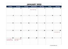 2020 calendar Hong Kong spreadsheet template