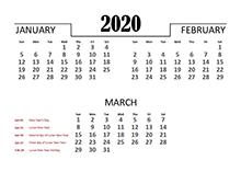 2020 Quarterly Calendar for Hong Kong