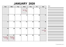 2020 free calendar pdf