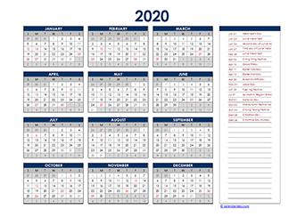 Yearly 2020 Calendar with Hong Kong public holidays