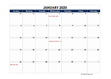 2020 calendar India spreadsheet template