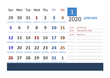 2020 India Calendar Vacation Tracking