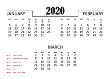 2020 Quarterly Calendar for India