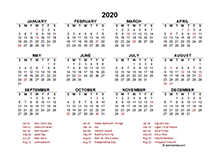 2020 India calendar template with public holidays