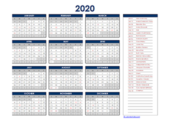 Yearly 2020 Calendar with India public holidays