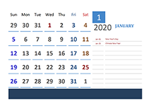 2020 Indonesia Calendar Vacation Tracking