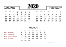 2020 Quarterly Calendar for Indonesia