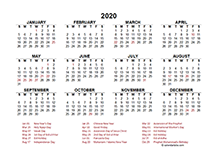 2020 Indonesia calendar template with public holidays