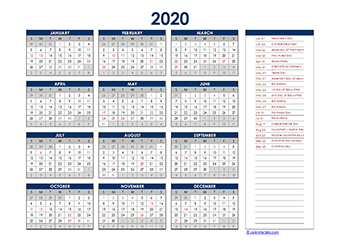 Yearly 2020 Calendar with Indonesia public holidays