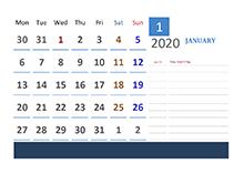 2020 Ireland Calendar Vacation Tracking